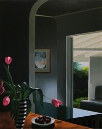 untitled, interior with tulips and indian miniature by christopher brown