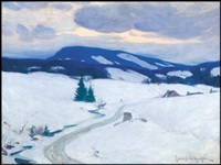 twilight in the laurentians, winter by clarence alphonse gagnon