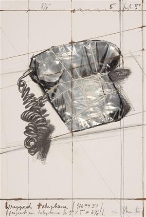 """wrapped telephone"" (project for telephone) aus ""galeria joan prats 1976 - 1988 - carpeta commemorativa 12. aniversari"", by christo and jeanne-claude"