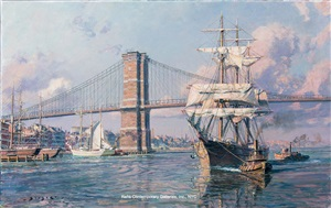 new york, east river departure c. 1880 by john stobart