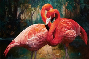 flamingos by julie bell