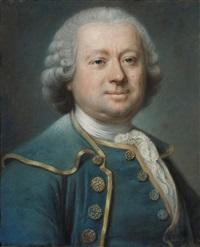 portrait d'homme en redingote bleue galonnée d'or by jean valade