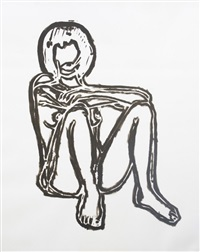 monica sitting on elbows and knees by tom wesselmann