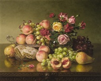 still life of fruit, roses and honeycombs by robert spear dunning