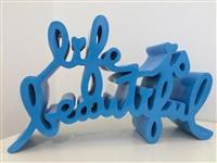life is beautiful (blue) by mr. brainwash