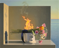 still life with burning flowers (offering) by david ligare