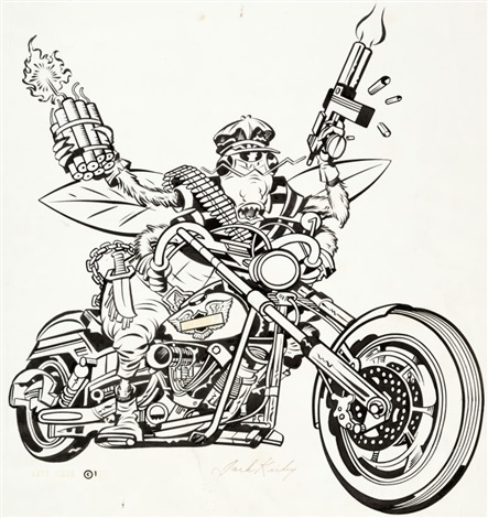 Jack Kirby Bug On A Motorcycle T Shirt Illustration