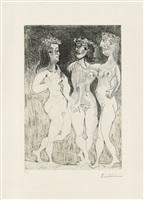 """""""trois femmes"""" / """"les trois grâces couronnées de fleurs"""" (drei frauen) / (die drei grazien mit blumen bekränzt) by pablo picasso"""