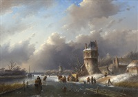winter day on a frozen dutch canal by jan jacob spohler