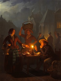 night market at the groenmakt, the hague by petrus van schendel