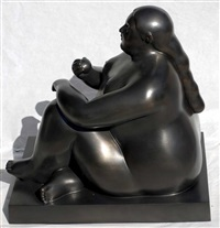 donna seduta con mela by fernando botero