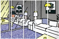 wallpaper with blue floor interior by roy lichtenstein