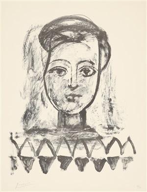 jeune femme au corsage à triangles (junge frau mit dreieickig gemusteter bluse) by pablo picasso