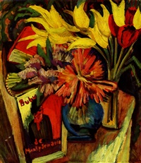 gelbe tulpen stilleben mit bubu de montparnasse by ernst ludwig kirchner