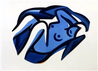 blue nude #17 by tom wesselmann