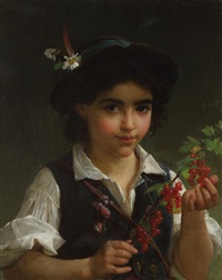 a boy holding a branch of berries by emile munier