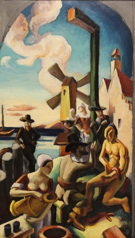 the study of history of new york, 1653: pilgrims and indians by thomas hart benton