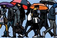 walking in the rain, london by julian opie