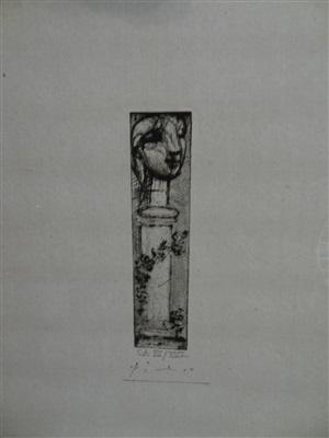 monument. tête de marie-thérèse sur une colonne by pablo picasso