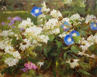 summer garden with morning glories by kathy anderson
