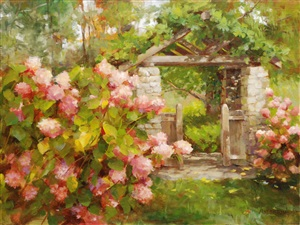 hydrangea at the gatehouse by kathy anderson