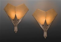 exceptional pair of stylized, cactus-shaped sconces executed in slivered bronze by albert cheuret
