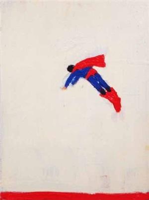 superman responds (red line bottom) by katherine bradford