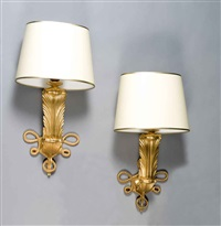 "a pair beautiful ""feather model"" wall sconces by jules leleu"