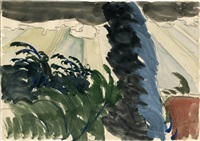 sun rays and windy tree by charles ephraim burchfield
