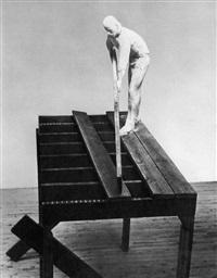 man on wood scaffold by george segal