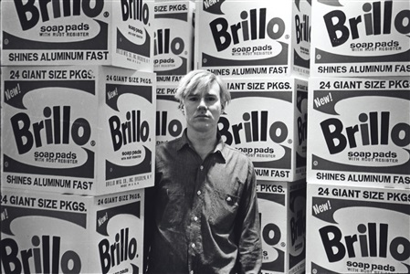 andy warhol with brillo boxes stable gallery by fred w mcdarrah