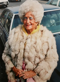 woman with fur coat, brighton beach, brooklyn, ny by jerome liebling