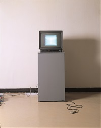 foot switch experiment on white rester by nam june paik