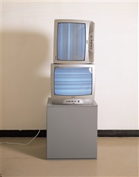 sound wave input on two tv sets(vertical,horizontal), by nam june paik
