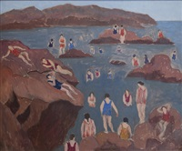 bathers of the rocks by abraham walkowitz