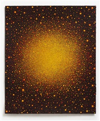 untitled (yellow red sun on black red) by karen arm