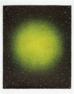 untitled (yellow-green sun on red) by karen arm