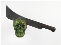 skull with machete ii by jan fabre