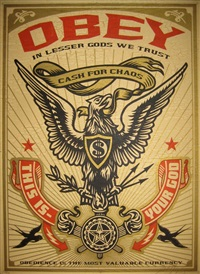 obey, lesser gods eagle by shepard fairey