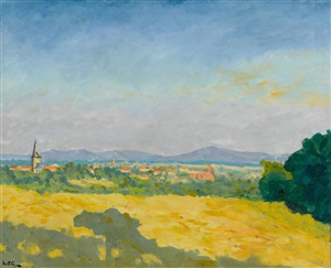 a distant view of a town in the south of france by sir winston spencer churchill