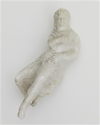 untitled plaster (seated woman with pointy hat, with extended leg and foot) by elie nadelman
