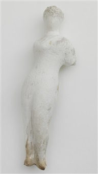 untitled plaster (standing woman with short bent left arm, right arm over chest) by elie nadelman