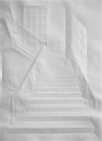 ohne titel (licht in treppenhaus und figur) by simon schubert