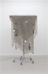 sonic fabric over nickel plated web by haegue yang