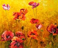 poppies in a cornfield by kenneth webb