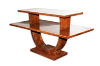 very rare and fine art deco two-tiered rectangular burled amboyna veneer side table by jules leleu by jules leleu