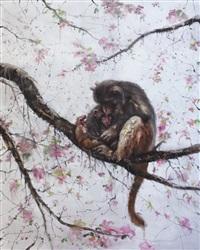 monkey mom and kid on the tree by li tianbing