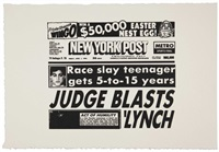 new york post (judge blasts lynch) by andy warhol