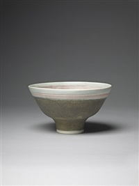 bowl with inlaid lip by lucie rie