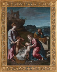 holy family with st. catherine of alexandria and the young st. john the baptist by giovanni francesco penni